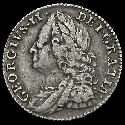 1757 George II Early Milled Silver Sixpence, VF