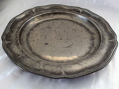 """Rare 14.5"""" 18th Century Double Reeded Sad Ware Block Tin Pewter Charger C1791"""