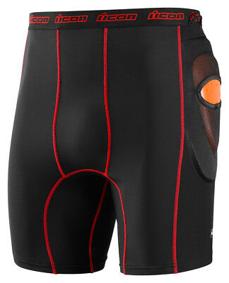 Icon Stryker Shorts With CE-Approved Hip Impact Protectors,Black, US 34-36/Large