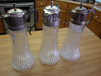 Three Antique Crystal Glass  Pitcher Silverplate Claret Jug Made In Italy