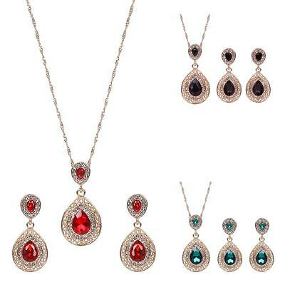 Water Drop Gold Plated Crystal Necklace Pendant Earrings Jewelry Set 3 Colors RF
