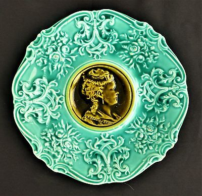 Antique Vintage Majolica Plate Turquoise Blue With Cameo Style Victorian Lady