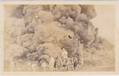 Rare 1910-1924 Artura Horse Drawn Fighting  Fire Engine Postcard Real Photo Rppc