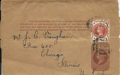 GB QV 1/2d Brown Newspaper Wrapper Uprated 1/2d Vermilion to Chicago USA