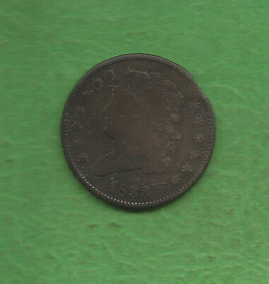 1833 Classic Head, Half Cent, Only 103,000 Were Minted - 184 Years Old!