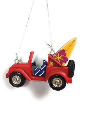 Jeep Red w Surfboard Christmas Tree Ornament Midwest CBK