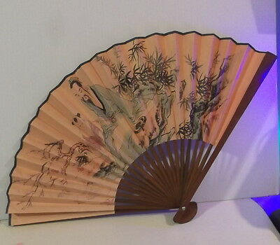 """Large Vintage Chinese Fan 13"""" Bamboo & Paper"""