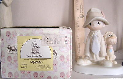 PRECIOUS MOMENTS ENESCO PORCELAIN FIGURINE to a special dad w/ dog FATHERS DAY