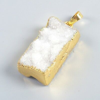 Uneven Rectangle Natural Agate Druzy Geode Pendant Bead Gold Plated T037302