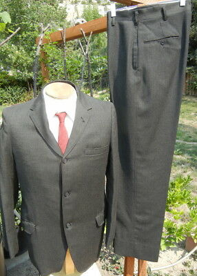 VTG 1960s Dark Olive Worsted Wool Suit 40R 30x30 - 3 Button Jacket, Short Lapels