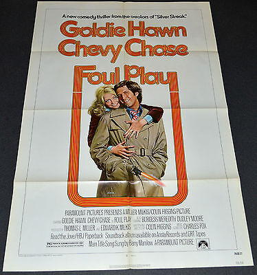 FOUL PLAY 1978 ORIGINAL 27x41 MOVIE POSTER! CHEVY CHASE & GOLDIE HAWN COMEDY!
