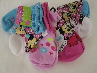 Disney Minnie Mouse 6 Pairs Turquoise Pink White 6-8  No Show Socks