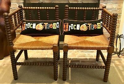 Matched Pair Of Antique Bobbin or Spindle Corner Chairs with Woven Rush Seats