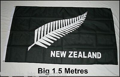 Big 1.5 Metre New Zealand Silver Fern  Large New Flag - All Blacks Rugby Union