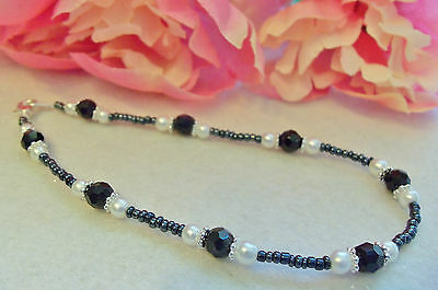 Ankle Bracelet Black Czech Crystals White Glass Pearls Anklet 9½""