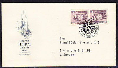 Czechoslovakia 1947 - 1k20 (Pair) Youth Festival  First Day Cover - Addressed