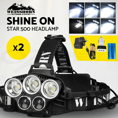 Weisshorn 100000LM LED Headlamp Head Torch Light Flashlight Rechargeable Camping