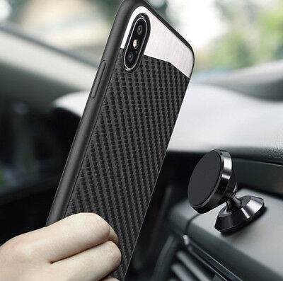 for iPhone X - Magnetic Backplate BLACK Carbon Fiber TPU Rubber Gummy Case Cover