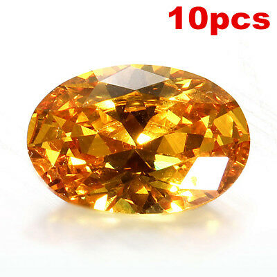 10PCS Yellow Sapphire Natural Loose Gemstone Gem Oval Shape Jewelry Gift 10x14mm