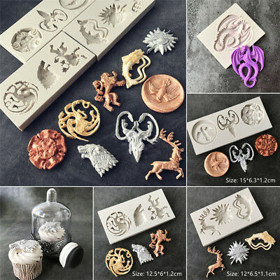 DIY Baking Chocolate Silicone Fondant Mold Family Badge Wolf Dragon Shape