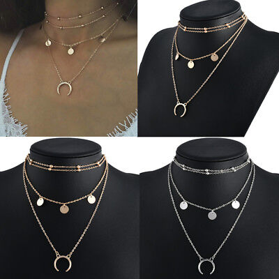 Fashion Women Choker Chunky Statement Bib Charm Pendant Chain Necklace Jewelry