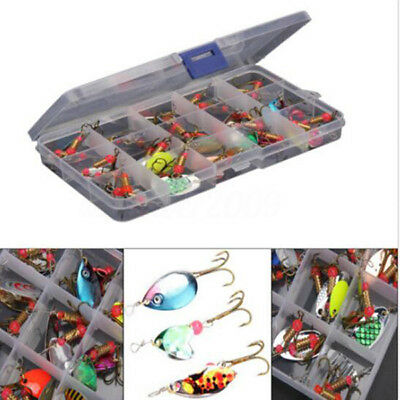 Lot 30pcs Assorted Trout Spoon Metal Fishing Lures Spinner Baits Bass Tackle Box