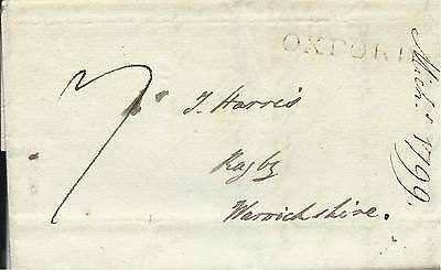 GB 1799 7d Paid Entire from Dean of Christchurch with Oxford Straight Line