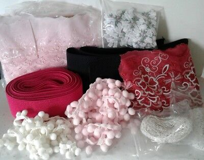 Bundle Lot of Beautiful lace and sewing trimmings elastic see all photos