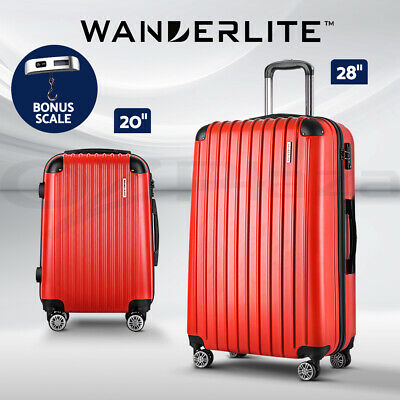 Wanderlite 3pc Luggage Suitcase Trolley Set TSA Hard Case Lightweight White