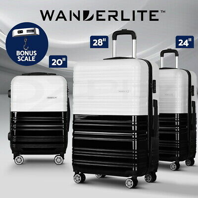 Wanderlite Luggage Sets Suitcase 3pc Carry on Set TSA Hard Case Lightweight