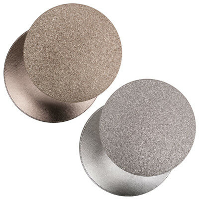 Modern Stylish Round Reversible Glitter Placemats Coasters Tablemats Silver/Gold