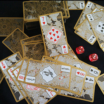Waterproof Transparent PVC Poker Gold Edge Playing Cards Dragon Card NoveltyHot