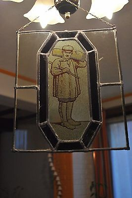 Ancien Vitrail A Suspendre-Ancien Métier-Old Stained-Glass Window - 34/28 Cm