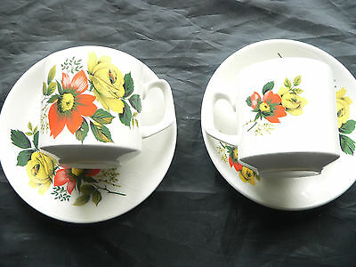 Wood and Sons, Pair of China Coffee Cups & Saucers, Flower Design, Alpine White