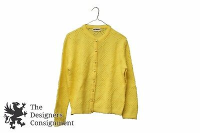 Vintage Womens Rosanna Canary Yellow Knit Cardigan Sweater Pearly Buttons