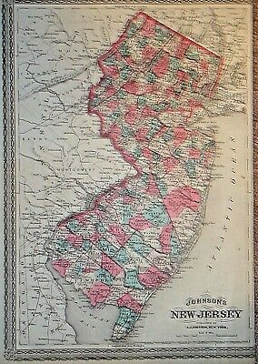 Vintage 1868 ~ NEW JERSEY ~  MAP Old Antique Original Atlas Map 92317