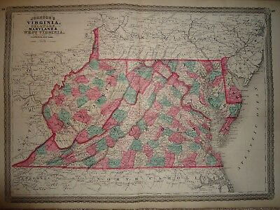 Vintage 1868 VIRGINIA - WEST VIRGINIA MAP ~ Old Antique Original Atlas Map 92317