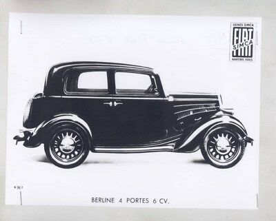 1935 Simca Fiat 6CV Berline 4 Door ORIGINAL Factory Photograph wy6255