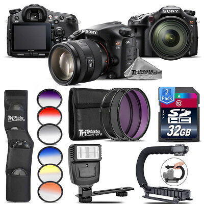 Sony Alpha a77 DSLR + 16-50mm 2.8 + 6PC Graduated Color Filter + Flash + 64GB