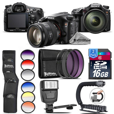 Sony Alpha a77 DSLR + 16-50mm 2.8 + 6PC Graduated Color Filter + Flash + 32GB