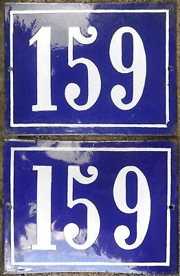 Large old blue French house number 159 door gate wall street sign plate plaque