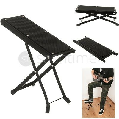 Adjustable Folding Guitar Foot Stool Metal Rest Acoustic Electric Practice Music