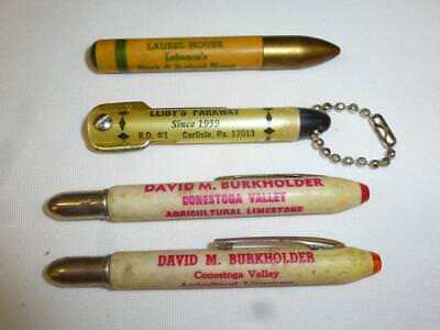 4 Vtg BULLET PENCILS Toothpick Holder David Burkholder Leibys Laurel House PA