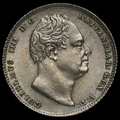 1835 William IV Milled Silver Sixpence, Scarce