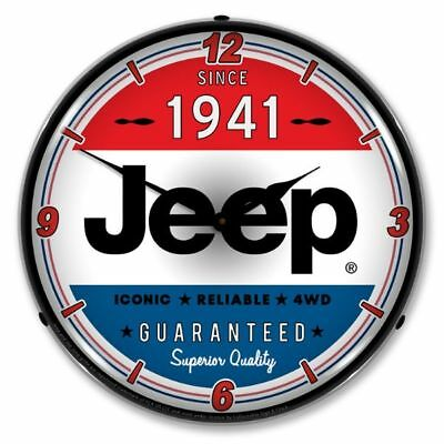 New  Jeep Since 1941  Retro Backlit Lighted Advertising Clock - Free Ship*