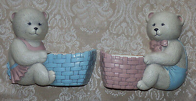 HOMCO BURWOOD Set of 2 Country Blue & Pink Wall BEAR WALL PLANTERS 2947