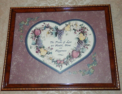 "Vtg HOMCO Home Interior ""FRUITS OF LOVE"" Framed Print Picture"