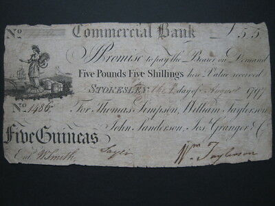 GB Provincial banknote Stokesley Commercial Bank 1797 Five Guineas