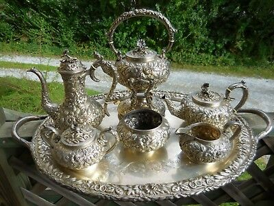 Impressive Kirk Repousse Sterling Silver 7 Piece Tea Set Hand Decorated Floral