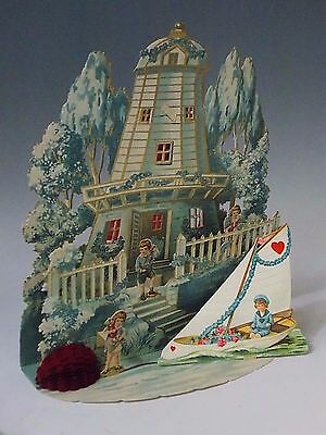 Vtg Large German Valentine's Day Card Stand Up Honeycomb Die Cut Lighthouse